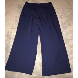 Antonio Melani Navy Blue Pleated Wide Leg Pants 10